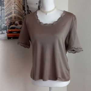 Façonnable Tshirt brown with lace size M